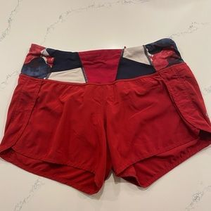 Lululemon Speed Up Short in Violet Red w waistband